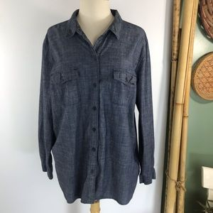 Old Navy Womens Chambray Shirt Sz XXL Button Front